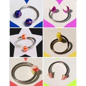 6 Assorted Circular barbells 💙🧡💛💚💕